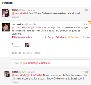 Tweet do ken sobre o novo album da colbie
